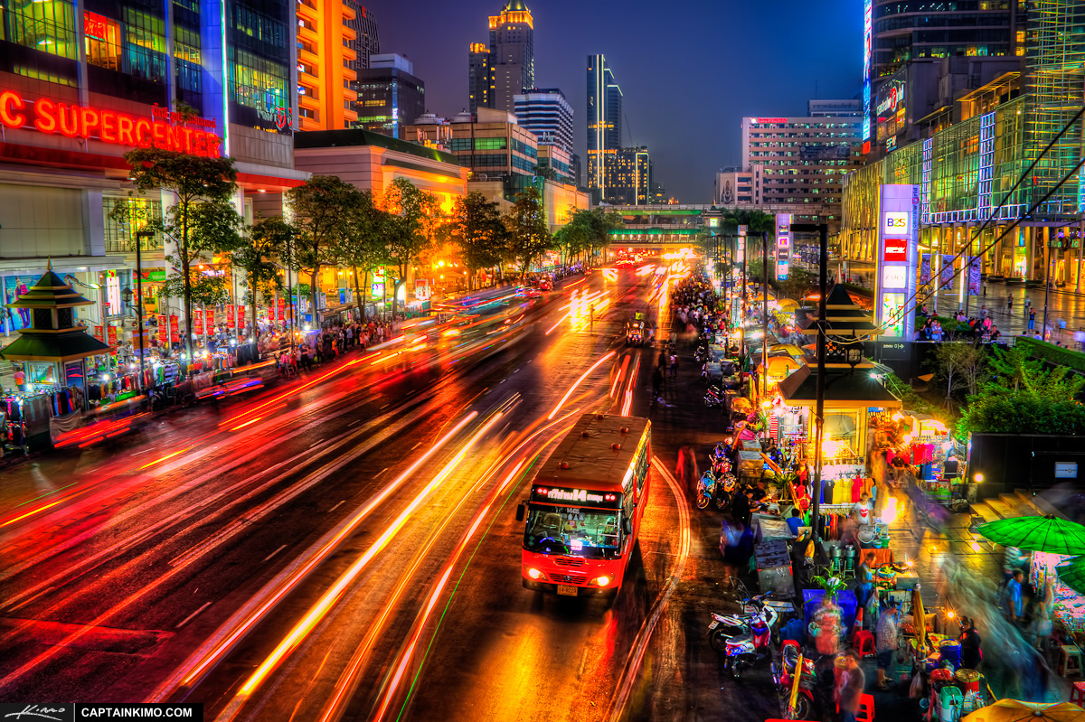 Bus Stop at Night Downtown Bangkok Thailand
